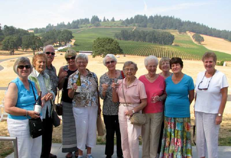 SUBMITTED PHOTO: DOUG DICKSTON - These senior wine tasters enjoyed the vineyard life, from left, Margaret Matthies, Marie Horvath, Bill Barger, Peggy Dickston, Margaret DeJardin, Marge Russell, Anne Josey, Joyce Brown, Marlene Rickett, Barbara Buchholz AND Bonnie Metcalfe. More wine-tasting excursions will be planned.