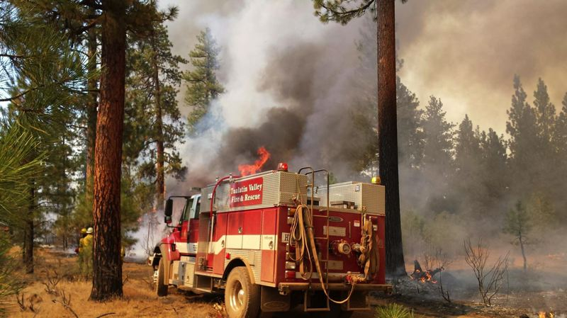 SUBMITTED PHOTO - A Tualatin Valley Fire & Rescue fighter snapped this photo of a TVF&R truck helping to battle fires in Warm Springs earlier this month.