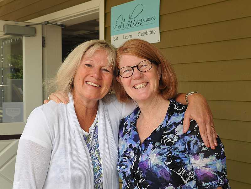 REVIEW PHOTO: VERN UYETAKE - Sisters Deborah Ulrich (left) and Suzanne Buxton opened On a Whim Studios in downtown Lake Oswego after realizing that we would hire us in a minute. The community has supported the retired teachers from the first day we opened up, Ulrich says.