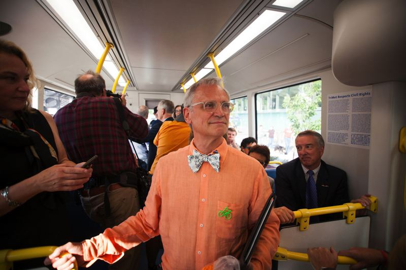TRIBUNE PHOTO: ADAM WICKHAM - U.S. Rep. Earl Blumenauer had a busy weekend, riding TriMet's Orange Line train Saturday morning when the light-rail line to Milwaukie opened, and speaking Sunday at the Oregon Medical Marijuana Business Conference.