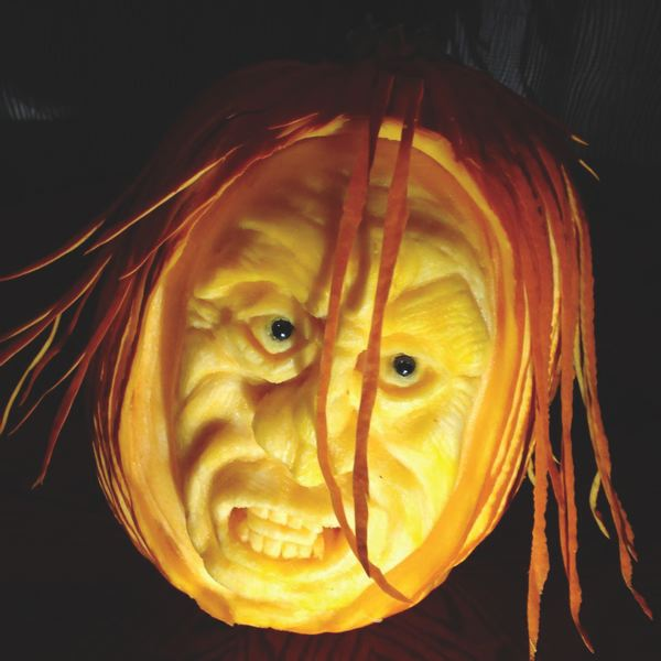 CONTRIBUTED PHOTO - Professional pumpkin carvers, like Gordon McDonald who carved the pumpkin shown here, will be on hand to demonstrate techniques at the festival.