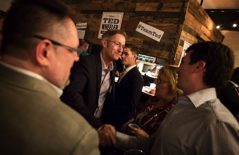 PORTLAND TRIBUNE: JONANTHAN HOUSE - Ted Wheeler meets with supporters during a kickoff party for his mayoral candidacy at Union/Pine in Southeast Portland.