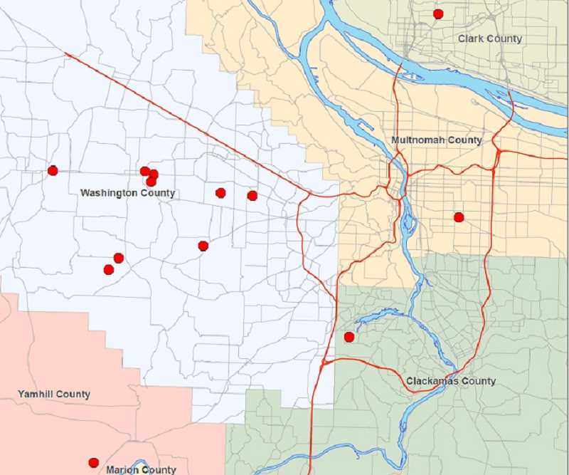 SUBMITTED PHOTO - This map shows the locations where a large number of agencies served search warrants related to an alleged methamphetamine ring that was funneling drugs from Mexico. Most of the warrants were served in Washington County but searches also were conducted in other counties.