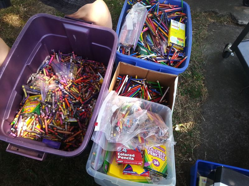 PHOTO COURTESY: LIZ ERICKSON - Tubs of recovered crayons wait to be reused.