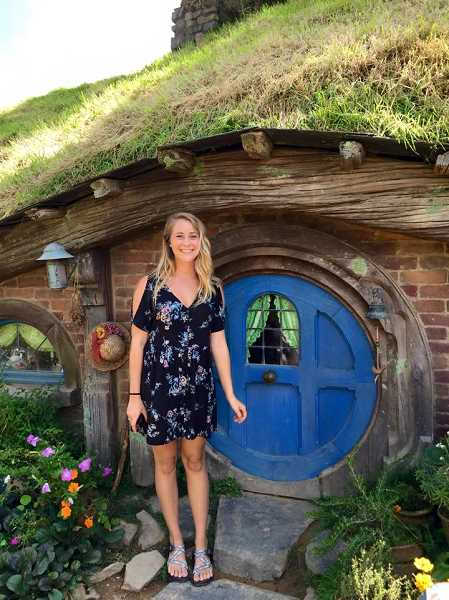SUBMITTED PHOTO - Jessie Landar has visits a 'hobbit hole' in New Zealand. Landar is planning a three-month backpacking trip across Asia, then a roadtrip to all 50 states.