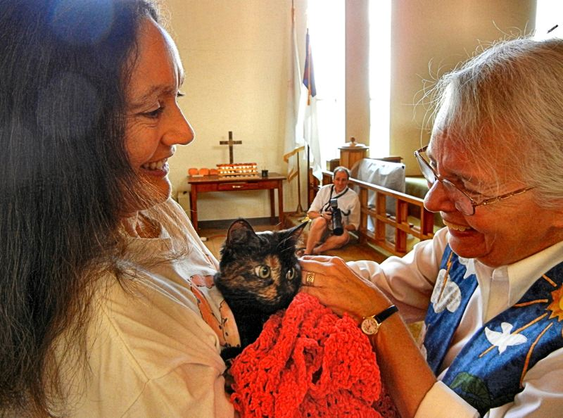 ELIZABETH USSHER GROFF - Carolyn Thurmans cat Rocket Girl is blessed by Rev. Sandy Storment at Trinity United Methodist Churchs annual Blessing of the Animals. Carolyn says the blessing is like a thank-you card, expressing appreciation to animals that enrich our lives.