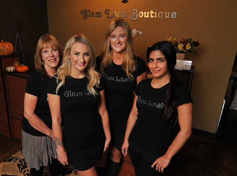 STAFF: VERN UKETAKE - From left are Marilyn Jones, Katie Kerwin, Teri Popma and Becky Howell, the staff at Glam Lash.