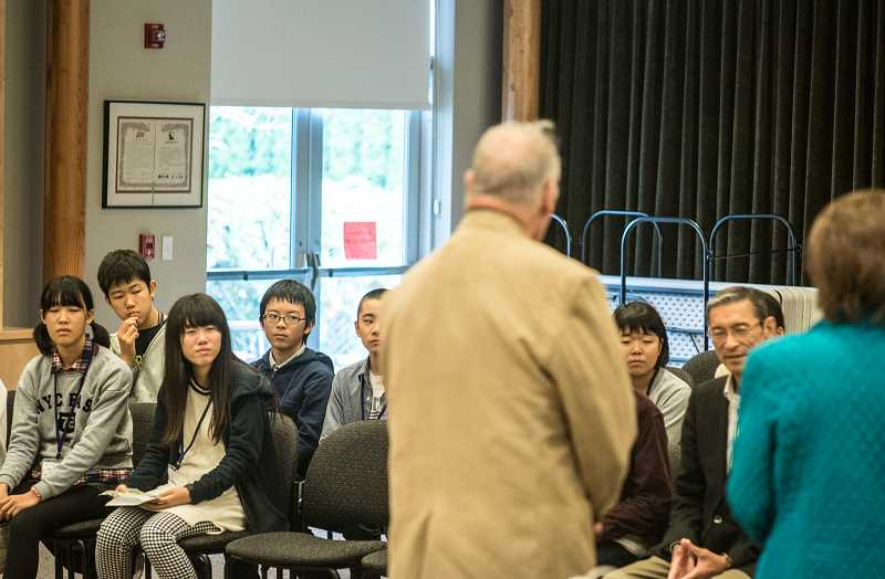 NEWS-TIMES PHOTOS: CHASE ALLGOOD - Forest Grove Mayor Pete Truax welcomes sister city students from Nuyzen, Japan, to town on Oct. 29.