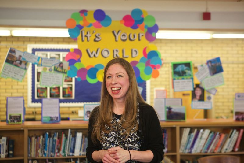 TRIBUNE PHOTO: JAIME VALDEZ - Author, new mother and former First Child Chelsea Clinton told students at Mt. Tabor Middle School about her struggles in middle school and how things work out in life during a book tour stop Thursday, Nov. 5.
