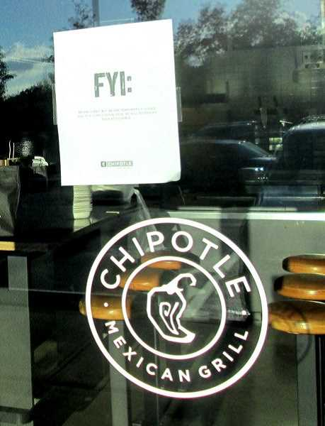 REVIEW PHOTO: KEVIN HARDEN - A note on the front door of the Chipotle restaurant on Centerpointe Drive in Lake Oswego says the business is closed because of a 'supply chain issue.' All 43 Chipotles in the Portland metro area and Washington state remained closed Friday.