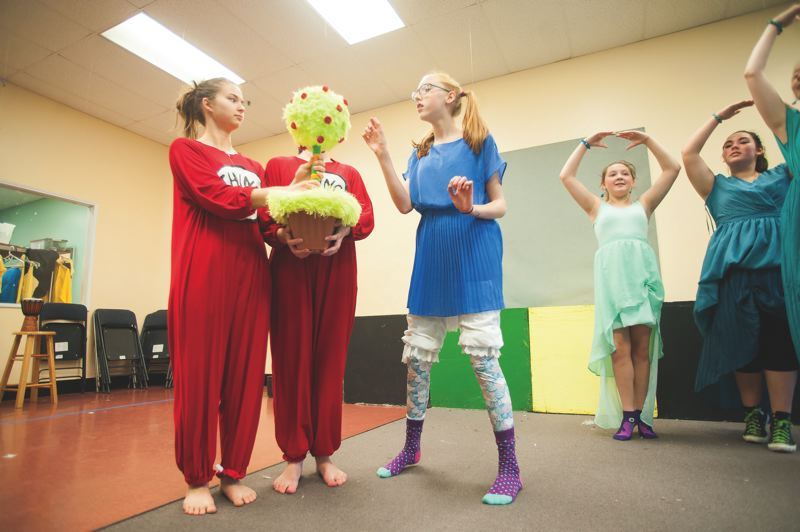 OUTLOOK PHOTO: JOSH KULLA - Corbett Children's Theater cast members rehearse for 'Seussical' in the Troutdale Marketplace space they currently occupy. The Theater's lease is up at the end of the year, however, and no replacement is in sight.