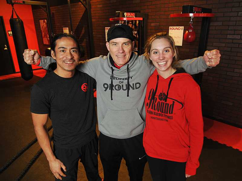 From left are Allen Parco, Steve Terreult and Tess Nelson. Parco and Nelson are trainers for 9Round and Terreault is the owner.