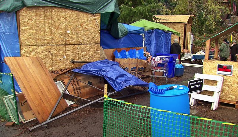 KOIN 6 NEWS - The Hazelnut Grove homeless camp in North Portland is growing and splitting into separate communities.