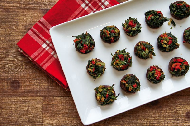 COURTESY: NEW SEASONS MARKET - Roasted Red Pepper and Spinach Stuffed Mushrooms