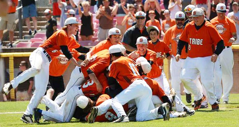 SPOTLIGHT PHOTO: JOHN WILLIAM HOWARD - The Scappoose baseball team beat twice-defending champion Henley 11-6 for its first state championship in five years.