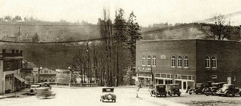 PHOTO COURTESY OLD OREGON PHOTOS - West Linn's new city hall in 1937, one year after completion. This image was taken from the northeast, with the Oregon City-West Linn Arch Bridge in the background.