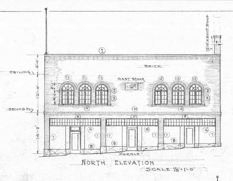 DRAWINGS COURTESY JOHN KLATT - Recently discovered construction documents feature this view of the front of the building, which intially had a market and butcher shop downstairs,while city council chambers were upstairs.