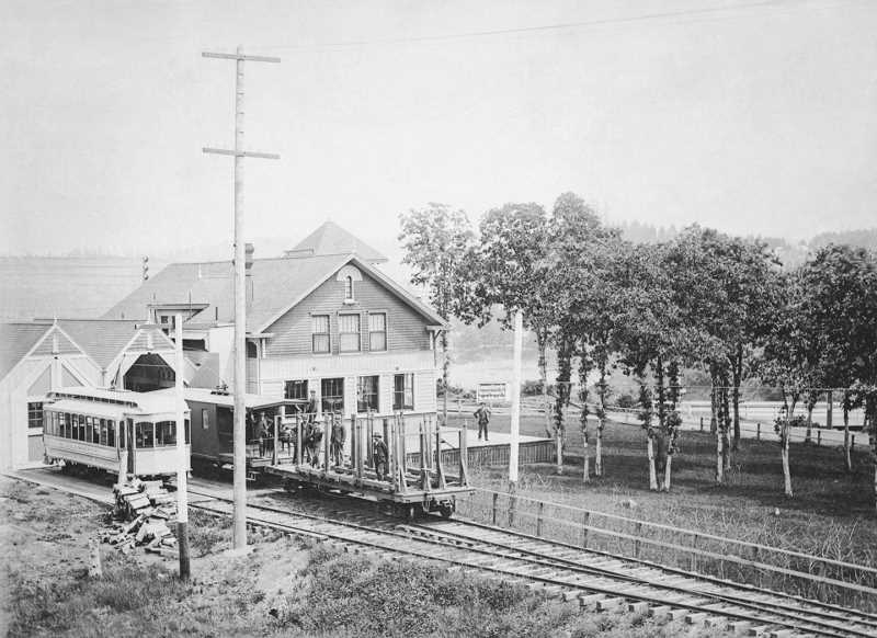 PHOTO COURTESY CLACKAMAS COUNTY HISTORICAL SOCIETY - The old city hall was constructed next door to this trolley station, which was demolished shortly after the new civic building was completed in 1936.