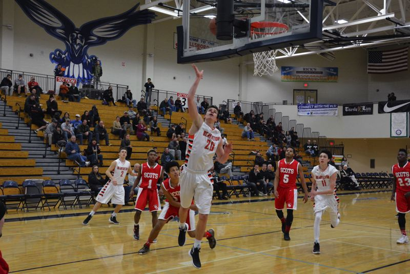 TIMES PHOTO: MATT SINGLEDECKER - Beaverton junior post Beau Sheeran had 20 points, 14 rebounds and two blocks in the Beavers blowout win over David Douglas in the Les Schwab Invitational.