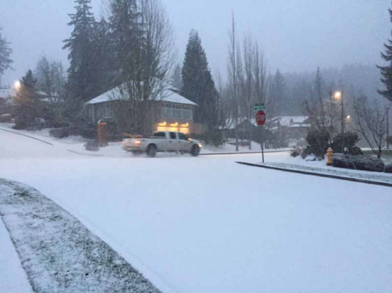 CONTRIBUTED PHOTO - Snow fell along Southeast Butler Road in Gresham on Sunday.