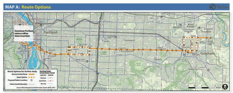 COURTESY METRO - Schools, colleges and major commercial destinations are all part of a map of the potential route and station locations for the Powell-Division bus rapid transit line. Weigh in now through Jan. 8.