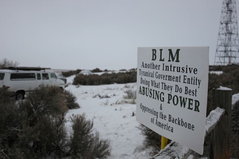 COURTESY PHOTO: AMANDA PEACHER/OPB - Signs blasting a federal agency popped up during the weekend during the occupation of the Malheur National Wildlife Refuge headquarters in Harney County.