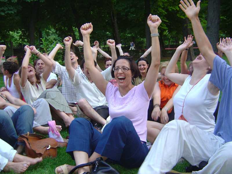 SUBMITTED PHOTO - This happy scene from Laughter Yoga International Day exemplifies what laughter yoga is all about. There are now 8,000 laughter yoga clubs all over the world.
