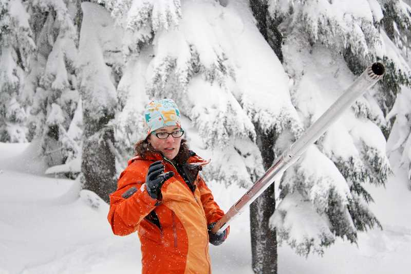 POST PHOTO: KYLIE WRAY - Julie Koeberle, an NRCS hydrologist, explains how the snows water content is measured.
