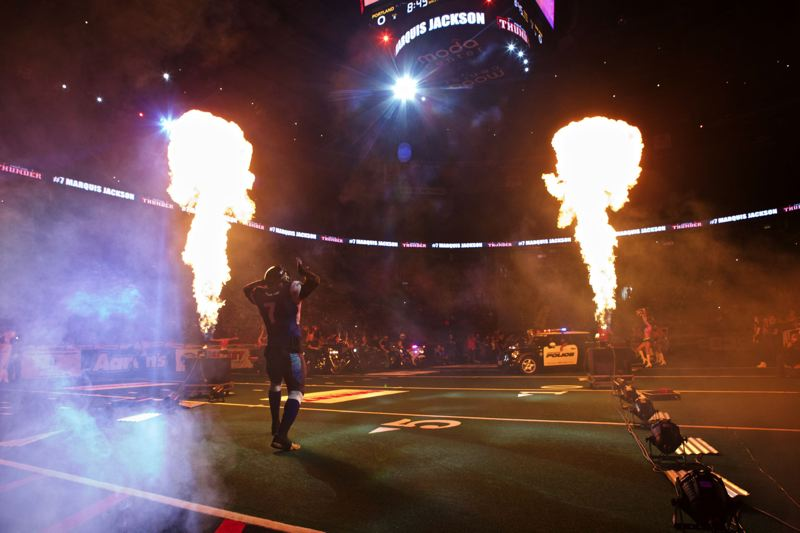 TRIBUNE FILE PHOTO: JAIME VALDEZ - Portland Thunder defensive lineman Marquis Jackson is introduced before a 2015 game at Moda Center. The Arena Football League, down to eight teams, has taken over operation of the team for 2016.