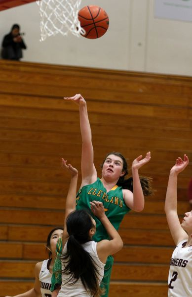 TRIBUNE PHOTO: JONATHAN HOUSE - Cleveland High's Julia Downing puts up a shot against the home team, Franklin, in a Portland Interscholastic League game Wednesday night.