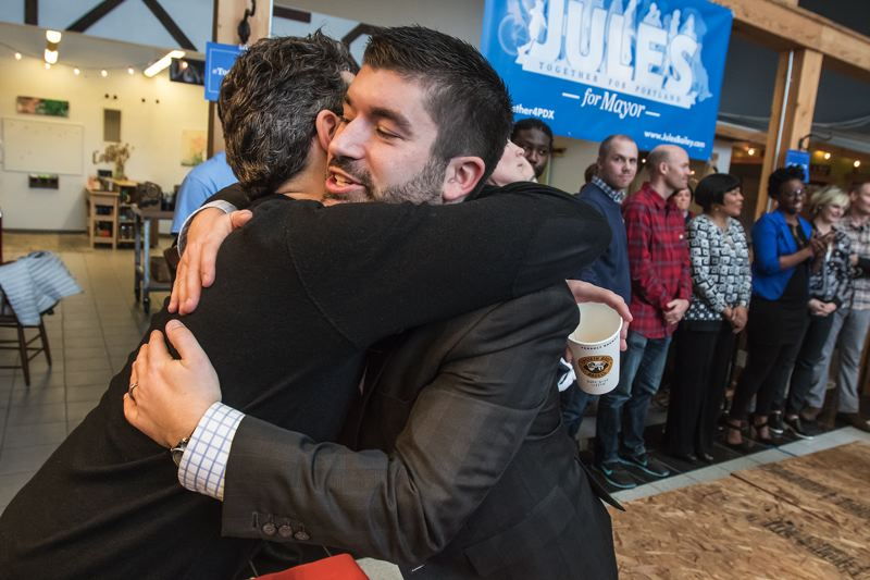 PORTLAND TRIBUNE PHOTO: JONATHAN HOUSE - Jules Bailey hugs a supporter at his campaign kickoff Saturday.