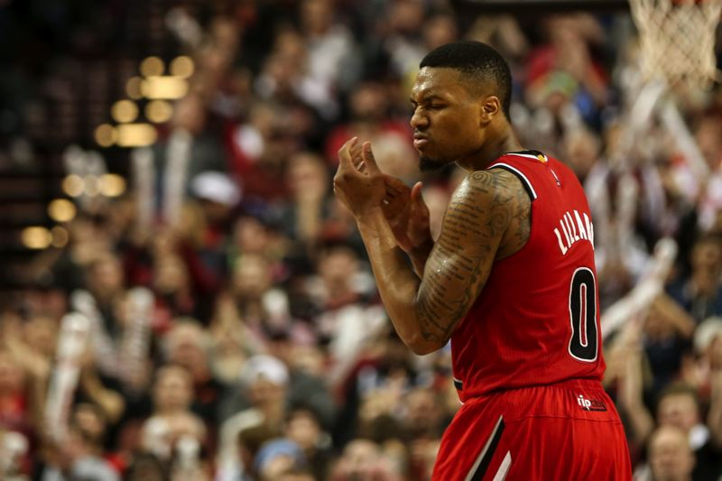 TRIBUNE PHOTO: DAVID BLAIR - Damian Lillard leads the Trail Blazers to a home victory over Oklahoma City with his second-half and fourth-quarter exploits at Moda Center.