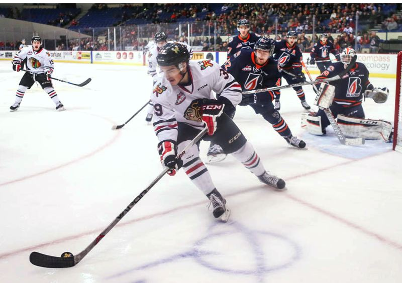COURTESY: DAYNA FJORD - Colton Veloso of the Portland Winterhawks controls the puck Sunday against Kamloops.