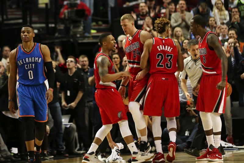 TRIBUNE PHOTO: DAVID BLAIR - Damian Lillard fires up the Trail Blazers as they shock Oklahoma City.