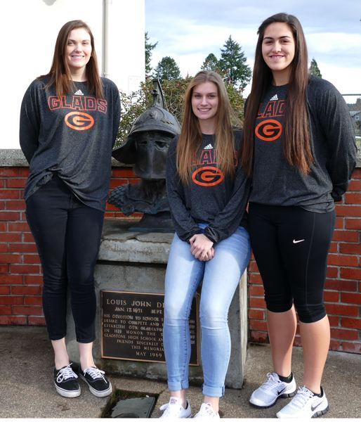 JOHN DENNY - Gladstone team captains (left to right) Sophia Hollingsworth, Jessica Petersen and Madi Mott say they believe that an inexperienced Gladstone girls basketball team can contend for the Tri-Valley Conference title again in 2016.