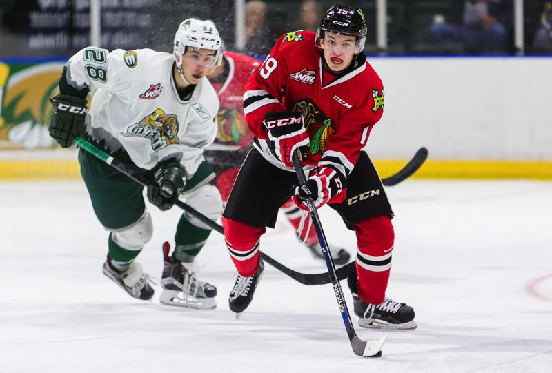 COURTESY: CHRIS MAST - Ryan Hughes, 5-7 and 135 pounds, is contributing to the Portland Winterhawks depth and power play as a 16-year-old, as the team relies on its youth and numbers to make a run in the Western Hockey League this season.