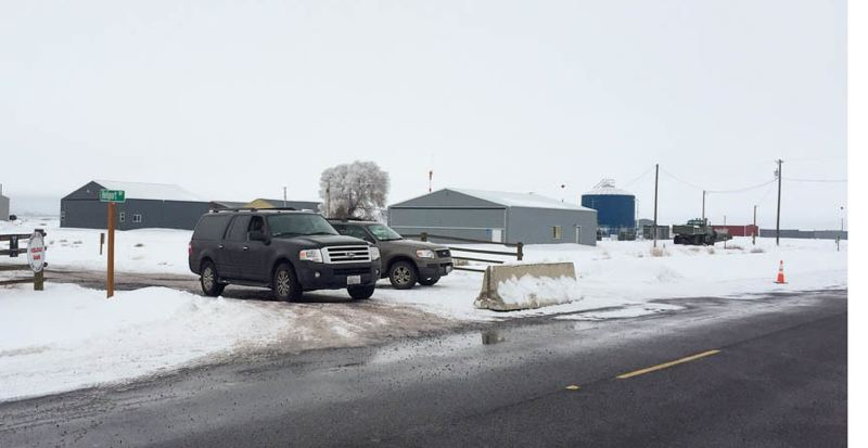 COURTESY PHOTO: AMANDA PEACHER/OPB - FBI vehicles block the entrance to the Burns airport Monday, Jan. 11. The FBI have set up a command center at the airport to deal with the militants who have occupied the Malheur National Wildlife Refuge complex since Jan. 2.