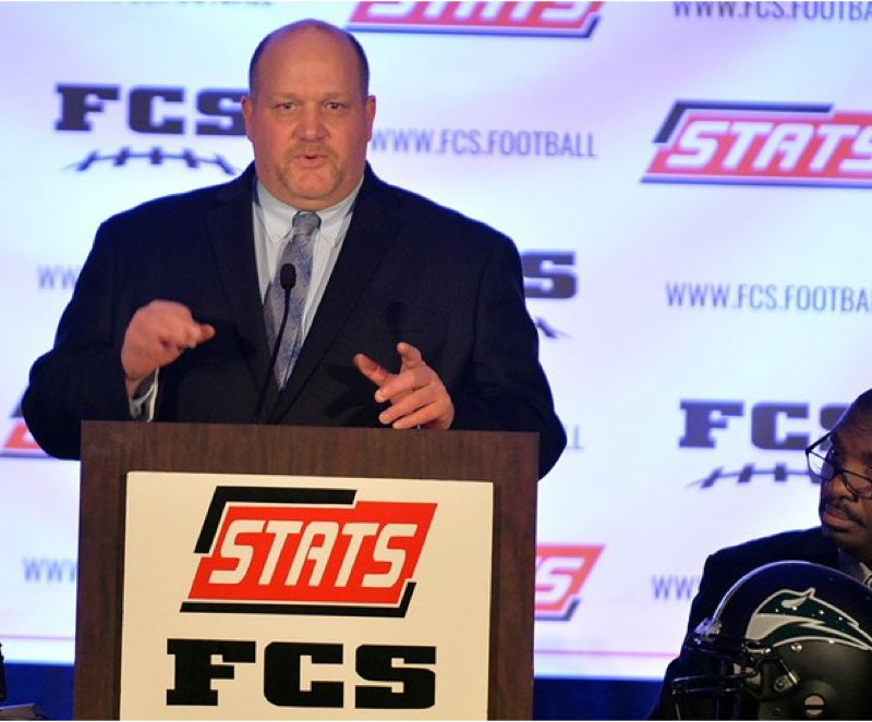 COURTESY: PORTLAND STATE UNIVERSITY - Portland State football coach Bruce Barnum was happy to have an entourage of fellow Vikings on hand as he accepted his honor as the top FCS coach of 2015.