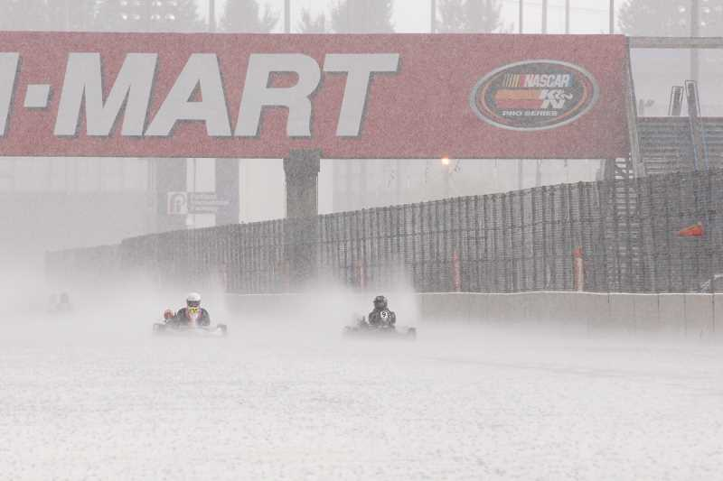 SUBMITTED PHOTO - Sammi VanEaton nears the finish line in the 2013 IKF Grand Nationals at a rain-soaked Portland International Raceway.
