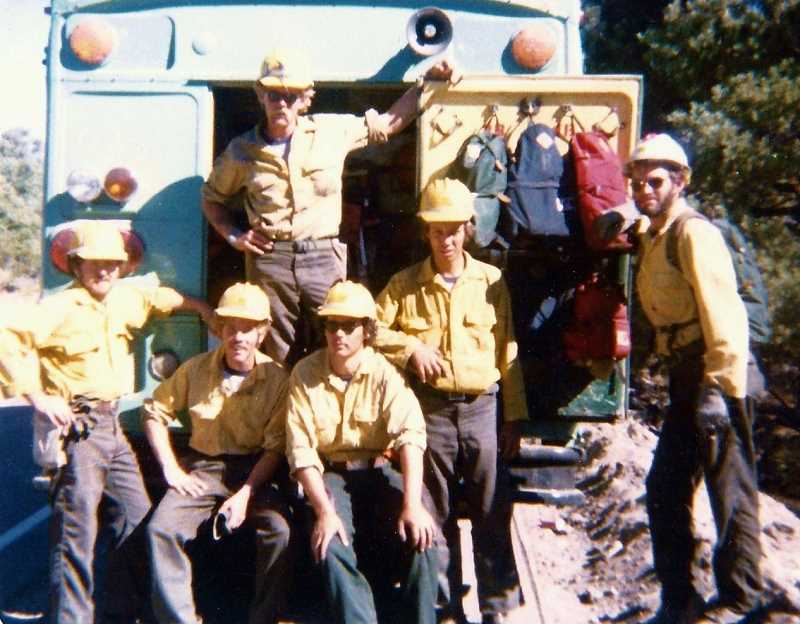 SUBMITTED PHOTO - In the late 1970s, Larry Goff (second from left) worked for the U.S. Forest Service as part of an interagency hotshot crew, traveling the country to fight wildfires.