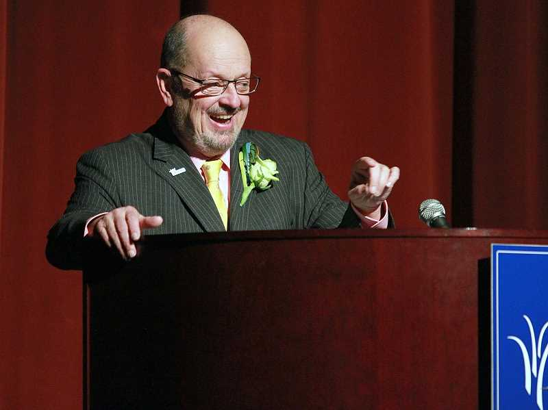 TIMES PHOTO: MILES VANCE - An animated and occasionally emotional Mayor Denny Doyle delivered his annual State of the City address Wednesday night at Beaverton's Arts and Communication Magnet Academy.