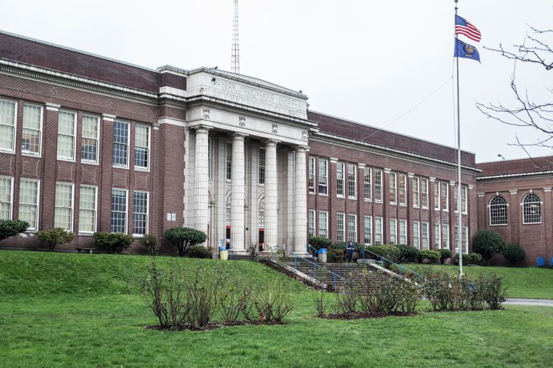 TRIBUNE PHOTO: JONATHAN HOUSE - Benson Polytechnic High School is located across Interstate-84 from Lloyd Center mall.