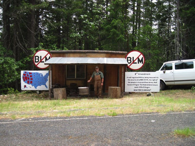 COURTESY PHOTO - Kenneth W. Medenbach of Crescent, Ore., lived in a small cabin on BLM property near Peavine Road in Galice to protest federal action that closed the Sugar Pine Mine. An armed standoff near the mine, similar to the one in Harney County, lasted several months.