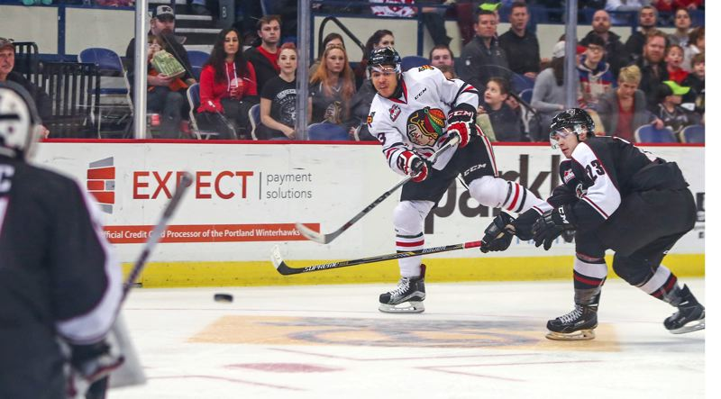 COURTESY; DAYNA FJORD/PORTLAND WINTERHAWKS - Portland Winterhawks forward Keegan Iverson fires a shot at the Vancouver net Monday afternoon at Memorial Coliseum.