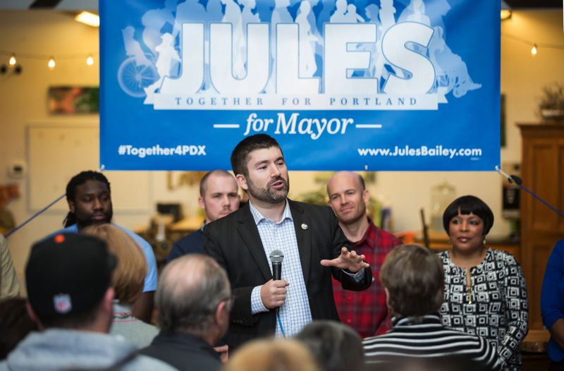TRIBUNE PHOTO: JONATHAN HOUSE - Jules Bailey formally announces his candidacy for Portland mayor.