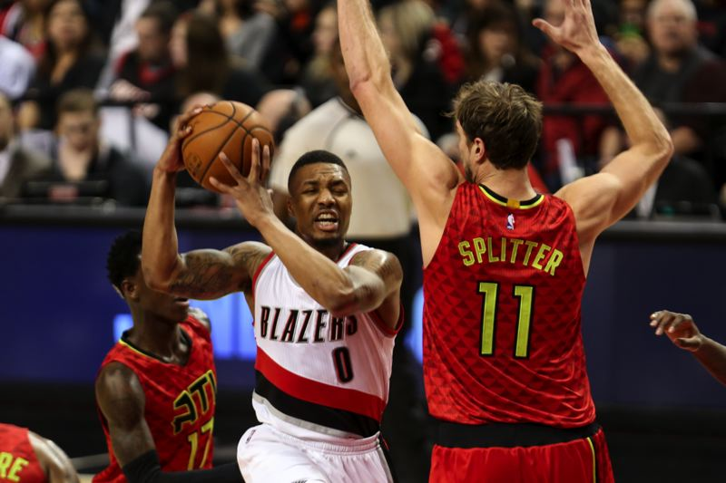 TRIBUNE PHOTO: DAVID BLAIR  - Portland's Damian Lillard finds the early going rough against Atlanta.