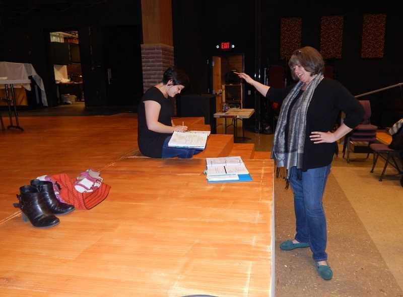 BARBARA SHERMAN - Director Annie Kaiser (right) shares a laugh with actress Audrey Voon as they work on staging a scene for 'The 25th Annual Putnam County Spelling Bee' at the Broadway Rose Theatre Company in Tigard.