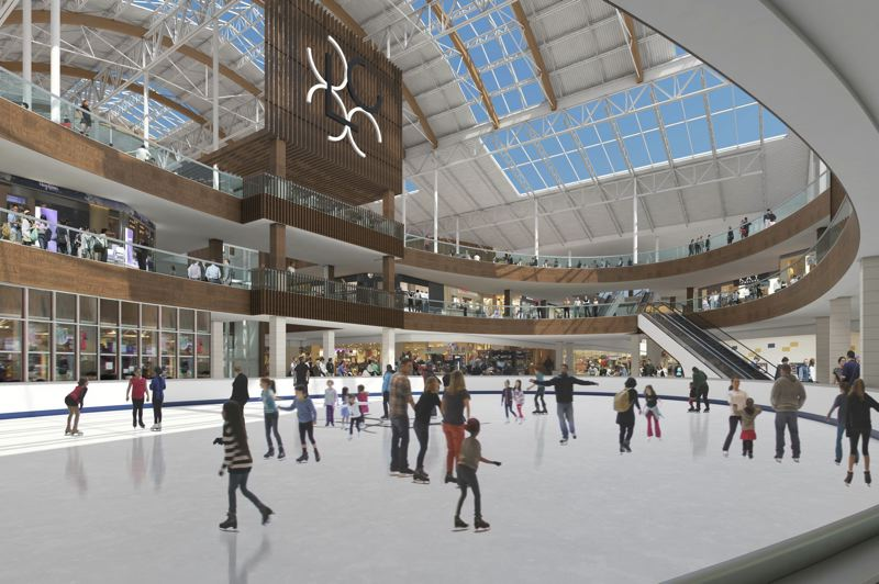 COURTESY RENDERING - Lloyd Center plans to renovate its ice rink as part of overall imporvements.