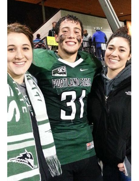 COURTESY: SCHLATTER FAMILY - Sisters Garyn (left) and Kasey followed AJ Schlatter as he went from Portland State football walk-on to Big Sky player of the week in the Vikings' 9-3, playoff 2015 season.