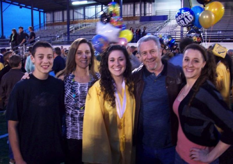 COURTESY: SCHLATTER FAMILY - AJ Schlatter (left) joins mom Terri Jo, sister Kacey, dad Jim and sister Garyn at Kacey's graduation from Canby High in June 2011.